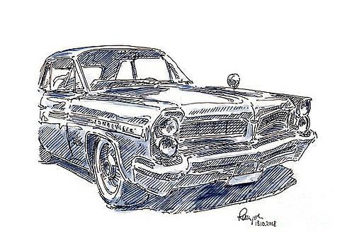 Frank Ramspott - Pontiac Bonneville Classic Car Ink Drawing and Watercolor