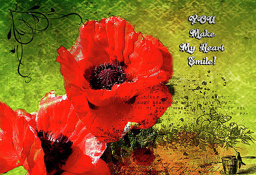 Poppy Greeting Card by Linda Cox