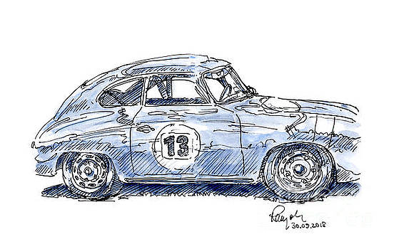 Frank Ramspott - Porsche 356 A Classic Car Ink Drawing and Watercolor