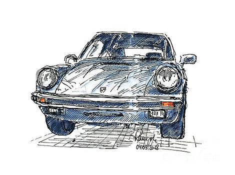 Frank Ramspott - Porsche 911 Classic Car Ink Drawing and Watercolor