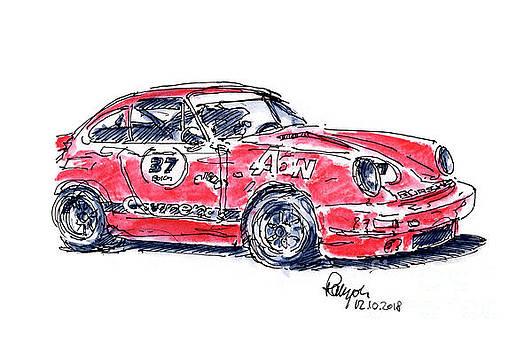 Frank Ramspott - Porsche 911 SC Racecar Ink Drawing and Watercolor
