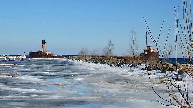 Port Credit Harbour In Winter by Chris Gill
