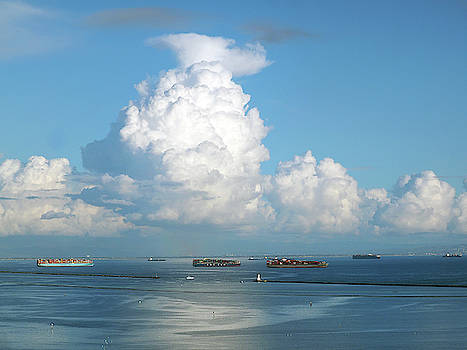 Port of Los Angeles with thundercloud by Joe Schofield