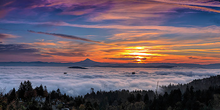 Portland Engulfed In Fog by Wes and Dotty Weber