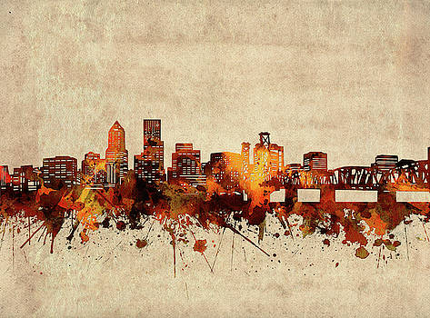 Portland Skyline Sepia by Bekim Art