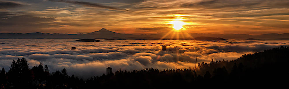Portland Under A Gold Cloud by Wes and Dotty Weber