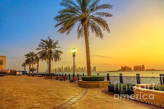 Porto Arabia skyline sunset by Benny Marty