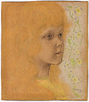 Portrait of a girl with blond hair by Jan Toorop