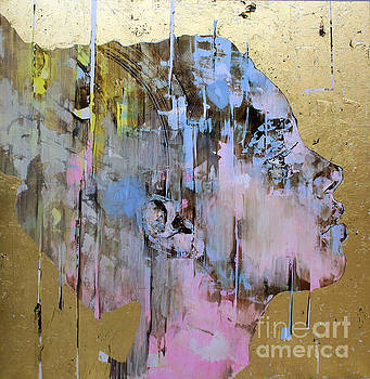 Portrait of a young lady in gold and pink by Kasey Jones