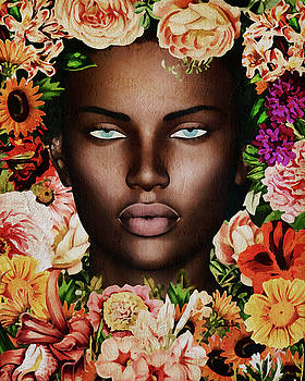 Jan Keteleer - Portrait Of African Woman Surrounded With Flowers