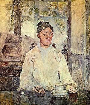 Portrait of Comtesse Adele-Zoe de Toulouse-Lautrec The Artist Mother - 1883 - PC - Drawing by Henri de Toulouse-Lautrec