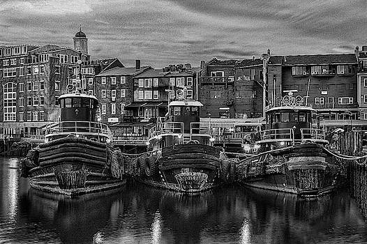 Portsmouth Tugboats at Dawnt in Black and White by Thomas Lavoie