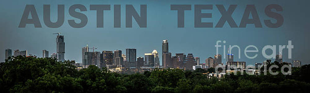 Poster of Downtown Austin Skyline Over the Green Trees by PorqueNo Studios