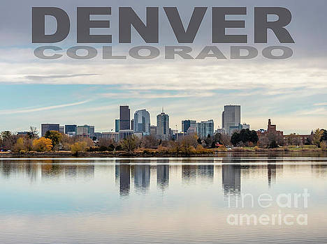 Poster of Downtown Denver At Dusk Reflected on Water by PorqueNo Studios