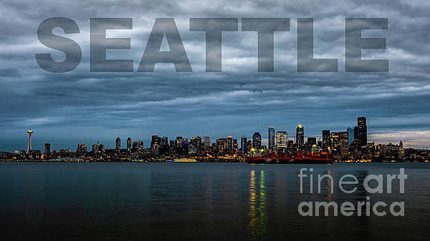 Poster of Downtown Seattle Skyline at Sunset by PorqueNo Studios