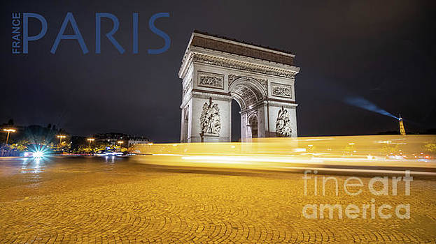 Poster of the Arch de Triumph with The Eiffel Tower in the Picture by PorqueNo Studios