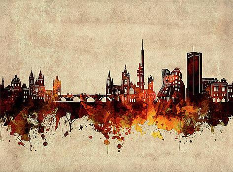 Prague Skyline Sepia by Bekim Art