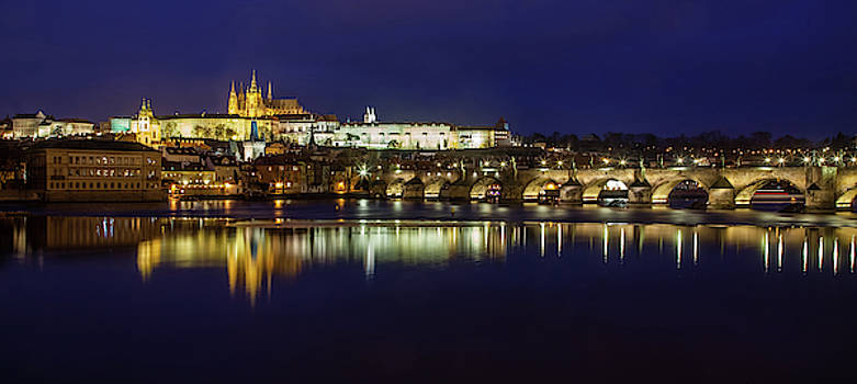 Prague Twilight Panorama by Andrew Soundarajan