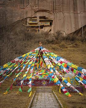 Prayer Flags Mati Si Zhangye Gansu China by Adam Rainoff