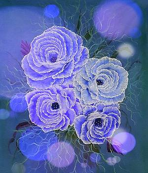 Precious roses blue stardust  by Angela Whitehouse