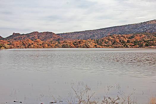 Prescott Arizona Watson Lake Hills Mountains rocks water grasses cloudy sky 3142019 4920 by David Frederick