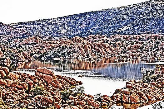 Prescott Arizona Watson Lake Rocks, Hills Water sky clouds 3122019 4867 by David Frederick