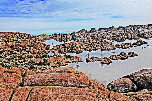 Prescott Arizona Watson Lake Rocks, Hills Water sky clouds 3122019 4870 by David Frederick