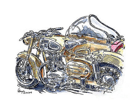 Frank Ramspott - Puch 250 SGA Motorcycle Sidecar Ink Drawing and Watercolor