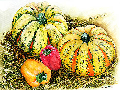 Pumpkins and Bell Peppers by Rowena Delfter