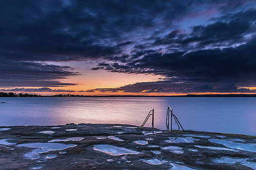 Purple and Orange Dawn Waterscape over the Lake by Merrillie Redden
