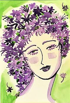 Purple Flower Lady by Roseann Amaranto