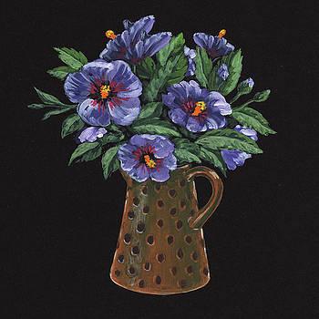 Purple Flowers Polka Dots Vase Floral Impressionism  by Irina Sztukowski