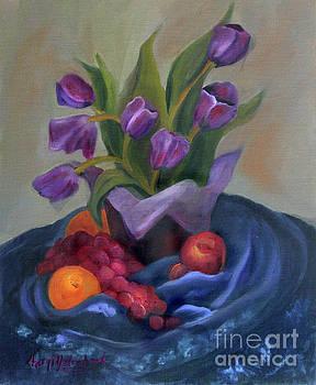 Purple Tulips on Blue Fabic by Cheryl Yellowhawk