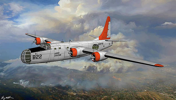 PY4-2K Privateer Fire Bomber - Oil by Tommy Anderson