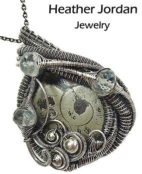 Pyritized Ammonite Fossil Wire-Wrapped Pendant in Sterling Silver with Aquamarine by Heather Jordan
