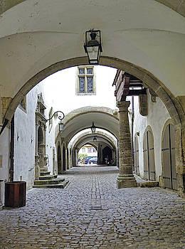 Quiet Walkway In Rothenburg ob der Tauber In Bavaria Germany by Richard Rosenshein