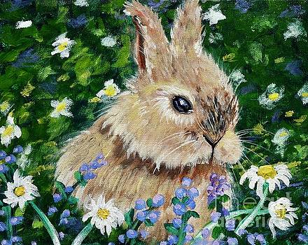 Rabbit In Field of Flowers by Jacqueline Athmann