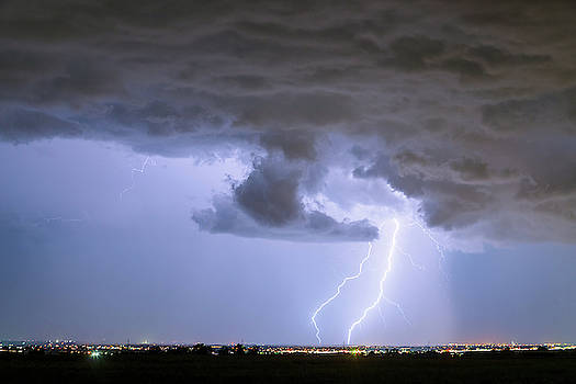 Rain Wall and Double Lightning Striking by James BO Insogna