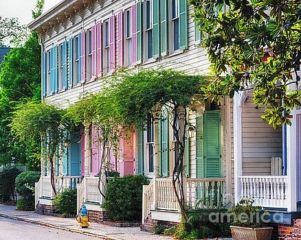 Rainbow Colored Row Houses of Savannah by George Oze