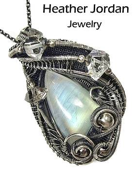 Rainbow Moonstone Wire-Wrapped Pendant in Antiqued Sterling Silver with Herkimer Diamonds by Heather Jordan