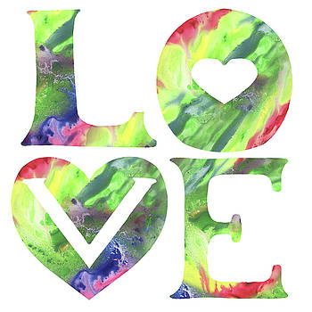 Irina Sztukowski - Rainbow Of Love Sign Watercolor Silhouette Letters Hearts