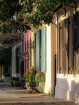 Rainbow Row Morning Light by Donnie Whitaker