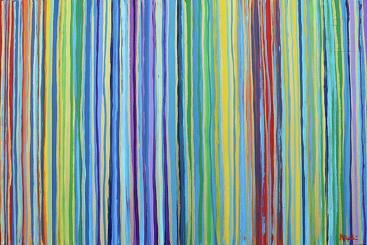Rainbow Stripes Blue Gold 201911 by Alyse Radenovic