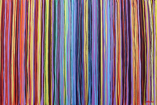 Rainbow Stripes Purple Gold 201912 by Alyse Radenovic