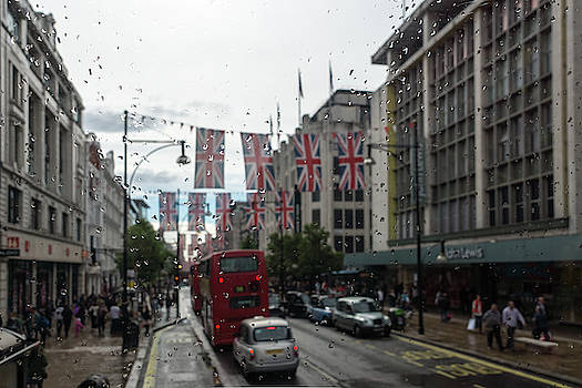 Rainy London - Oxford Street Union Jacks by Georgia Mizuleva