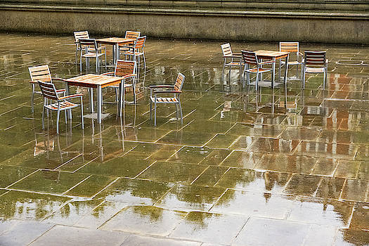 Rainy London Reflections - Deserted Alfresco Cafe by Georgia Mizuleva