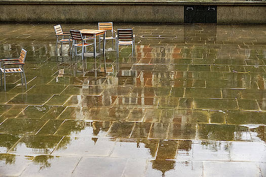 Rainy London Reflections - Deserted Courtyard Cafe by Georgia Mizuleva