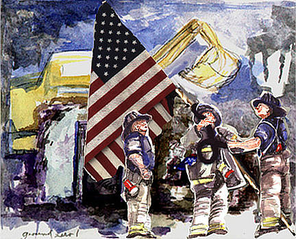 Raising the Flag at Ground Zero by Elle Smith Fagan
