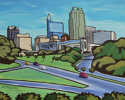 Raleigh Skyline cartoon 16 x 20 ratio by Tommy Midyette