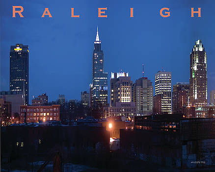 Raleigh Skyline night photo 16 x 20 ratio by Tommy Midyette